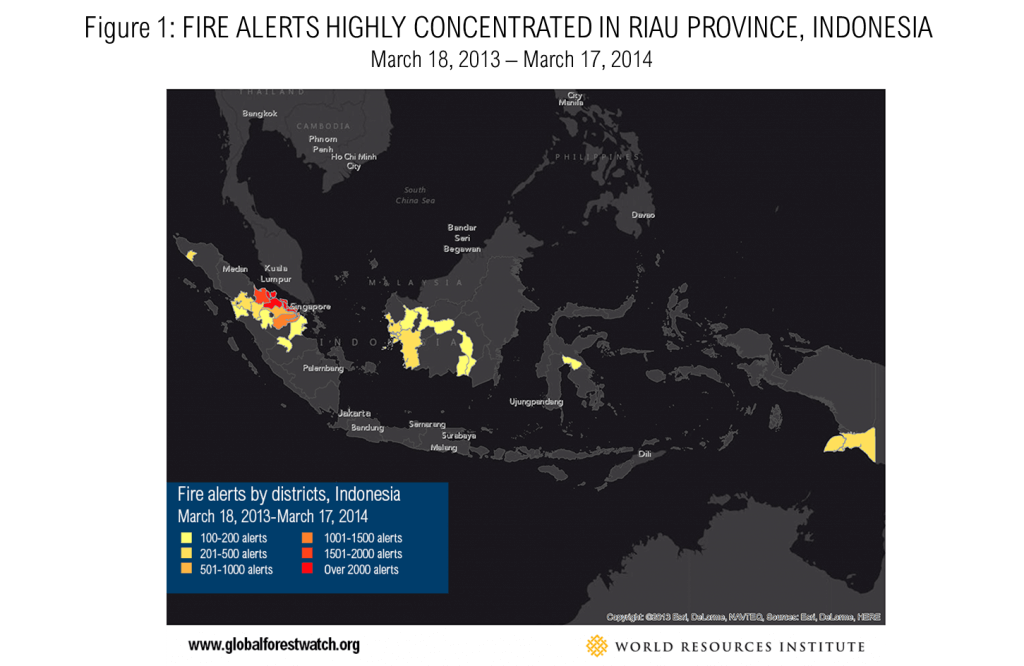Fires Alerts Highly Concentrated in Riau Province, Indonesia