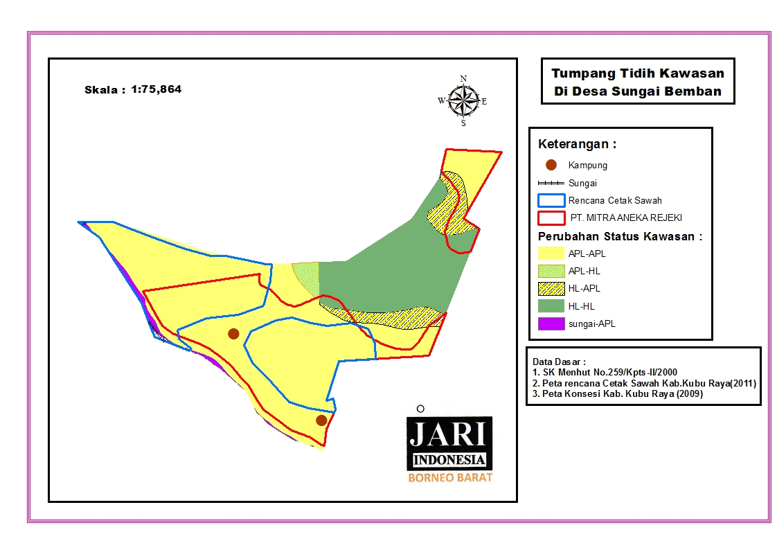 This map shows the overlapping borders of government's land banks for future rice paddy fields and existing company concessions in Sungai Bemban Village, Kubu District.