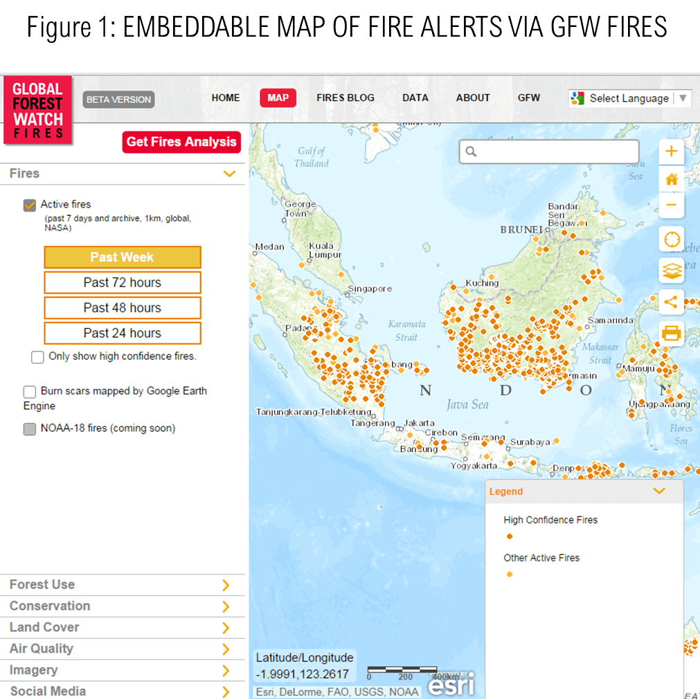 Map of fire alerts, Indonesia